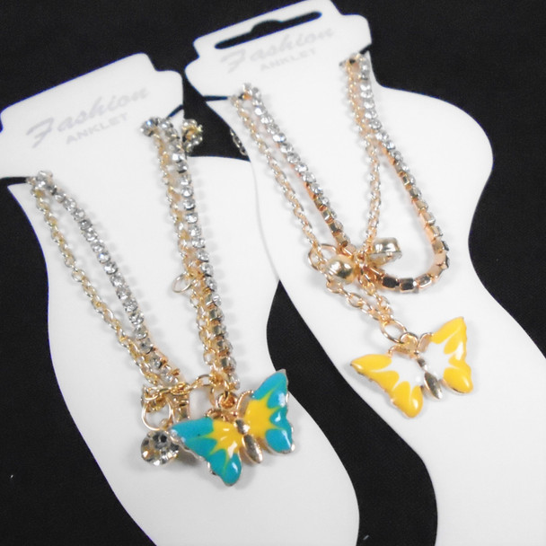 Gold & Silver Chain & Rhinestone Anklets w/ Colorful Butterfly Charm  .58 each