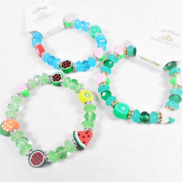 Glass & Crystal Beaded Stretch Bracelets Fruit Theme Beads   .58 each
