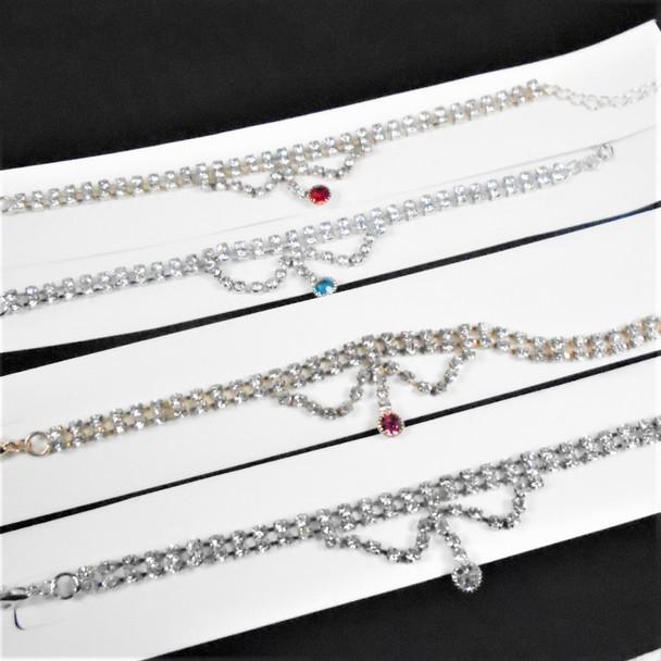 2 Strand Rhinestone Tennis Bracelet w/ Dangle Stone  .58 each
