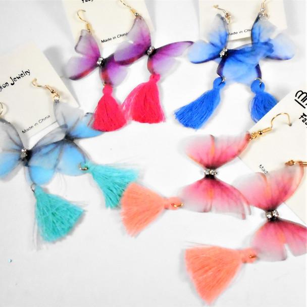 """2.5"""" Delicate Lightweight Butterfly Earring w/ Tassel  Asst Colors .58 per pair"""