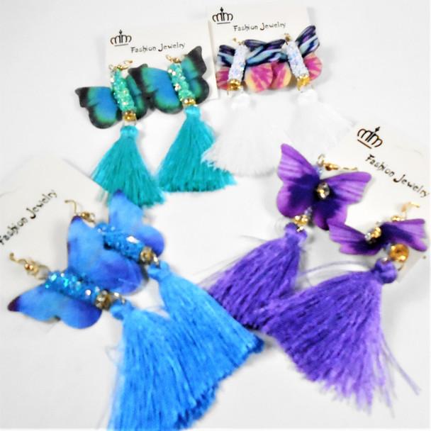 "3"" Delicate Butterfly Earring w/ Sparkle & Tassel Asst Colors .58 per pair"