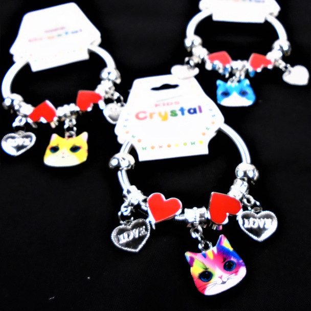 KID'S Baby Colorful Cat Theme Spring Style Fashion Bracelets Silver .56 ea