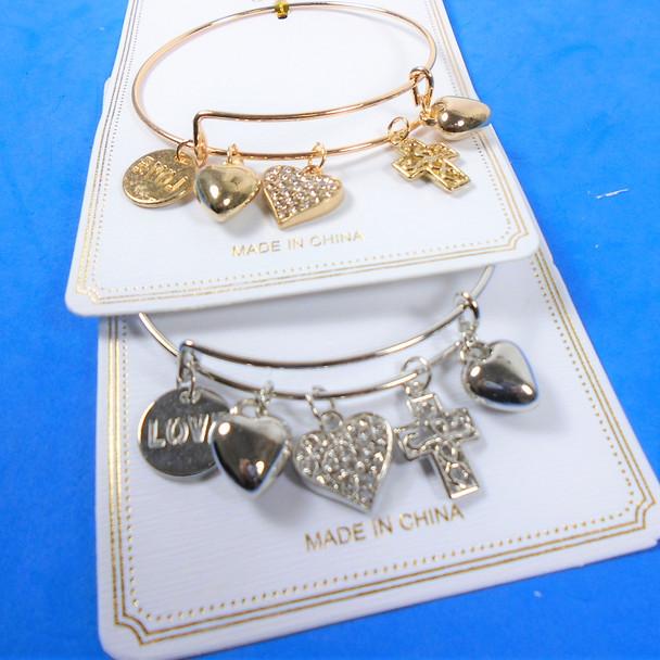 Gold & Silver Wire Bangle Bracelet w/ Heart Theme Mixed Charms  .58  ea