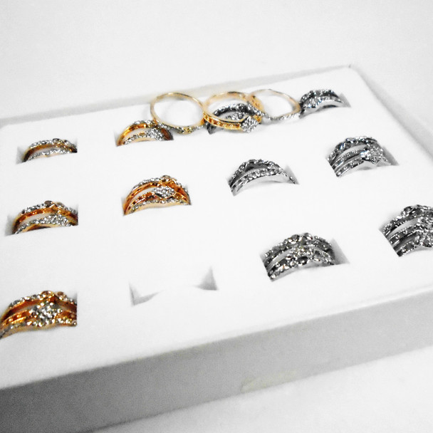 Gold & Silver Crystal Stone Band Rings  36 pcs per bx  for $ 6.95