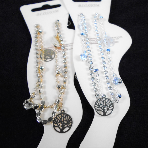 Gold & Silver Chain & Rhinestone Anklets w/ Dangle Tree of Life .58 each