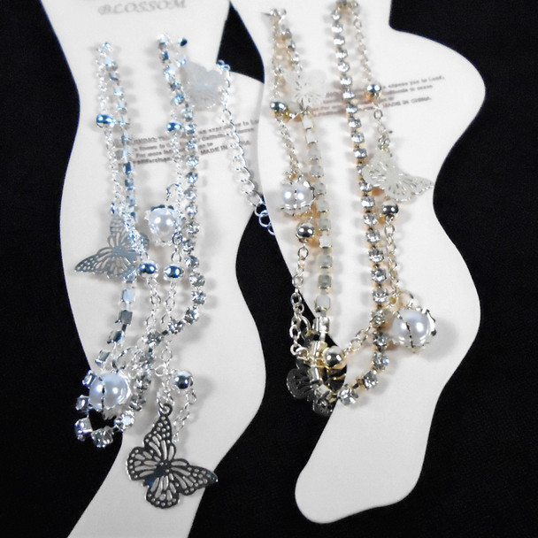 Gold & Silver Chain & Rhinestone Anklets w/ Dangle Pearl & Butterfly .58 each