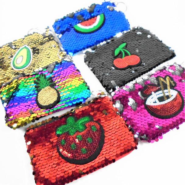 """4.5"""" Change Color Sequin Zipper Bag w/ 3-D Raised Logo Fruit Theme .65 ea"""