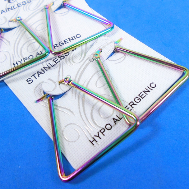 """1.5"""" Rainbow Color Stainless Steel Earrings  Square  .60 per pair"""