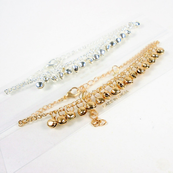 Gold & Silver Chain Anklets w/ Dangle Balls  .56 each