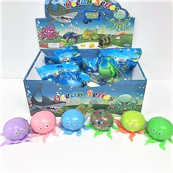 "4"" Squishy Bead Stress  Balls Octopus Theme  12 per display box .83 ea"