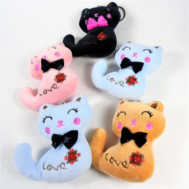 "3.5"" Plush Cat Lover's Plush Key Chains Mixed Colors 12 per pk .62 each"