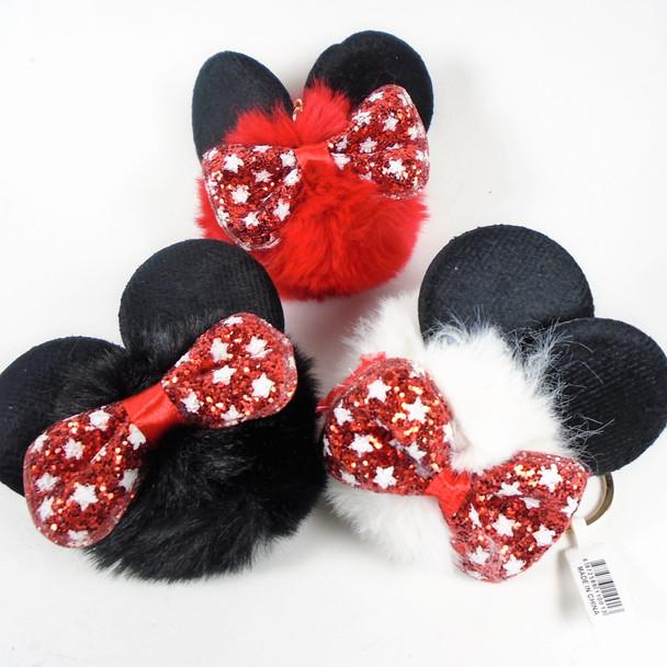 """3"""" Faux Fur Novelty Keychain w/ Glitter Bow & Blk Mouse Ears  .62 each"""