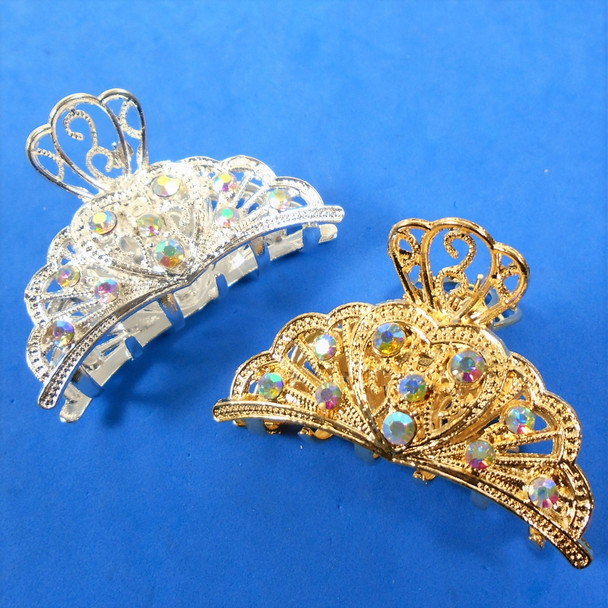 """2.5"""" Gold & Silver Cast Jaw Clips w/ Clear & Ab Crystal Stones 12 per pk .56 each"""