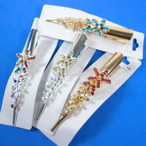 """5"""" Metal Gold & Silver Salon Clips w/ Crystal Stone Starfish Mixed Color Stones   .58 ea"""
