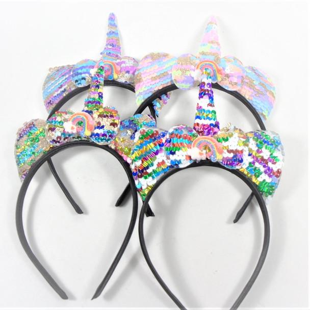 Novelty Sequin Unicorn Headbands w/ Rainbow  12 per pk  .60 each
