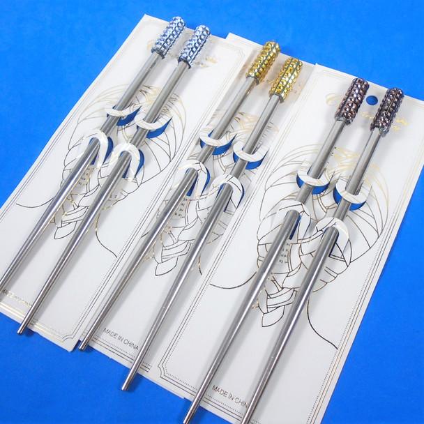 "7""  Metallic Metal Silver Hair Chopsticks w/ Shiney Square Stones  3 colors   .58 per set"
