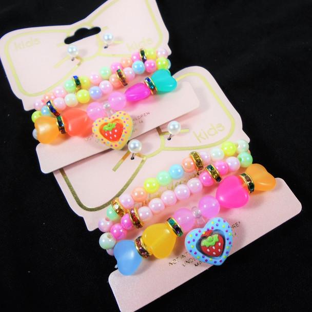 Kids 3 Pack Fun Stretch Bracelet & Earring Set Strawberry/Hearts   .54 per set