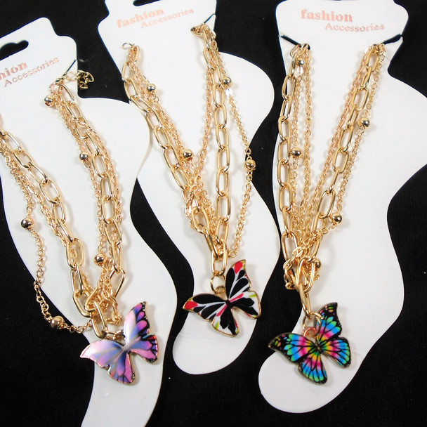 Multi Gold Chain Fashion Anklets w/ Colorful Butterfly Charm .58 ea