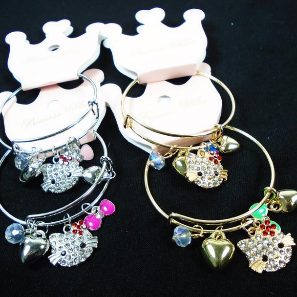 Kids Gold & Silver Wire Bangle Bracelet Cat Theme Charms .58 each