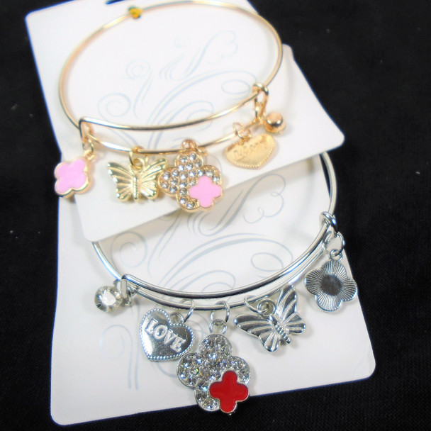 Gold / Silver Wire Bangle  Bracelets  w/ Butterfly & Flower Charms  .58 each