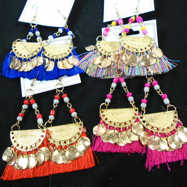 """3"""" Bead & Gold Disc Fashion Fringe Style Earrings  .58 per pair"""
