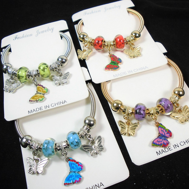 Gold & Silver Spring Style Bracelet w/ Butterfly Charms & Colored Beads  .58 ea