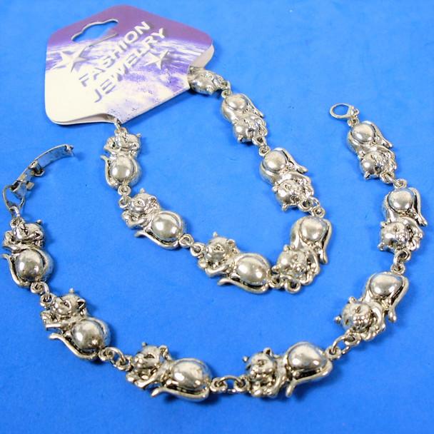 Cast Silver Linked Cat Lovers  Fashion Bracelets  12 per pk  .75 ea