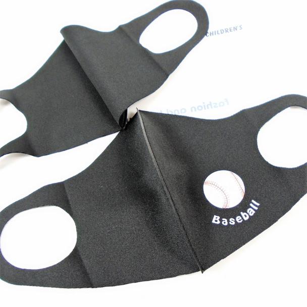 Kids Face Masks Washable & Reusable All Black Baseball Logo   .25  each