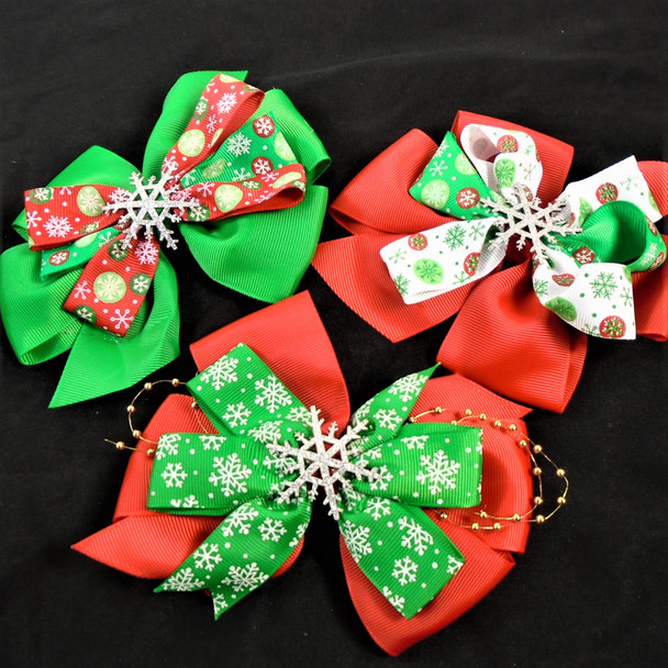 "5.5"" Layered Christmas Gator Clip Bows Snowflake Theme   .60 each"