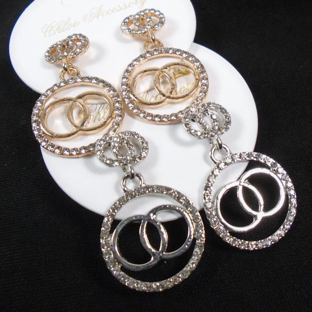 Popular Gold & Silver Crystal Stone DBL Circle Fashion Earrings  .58 per pair