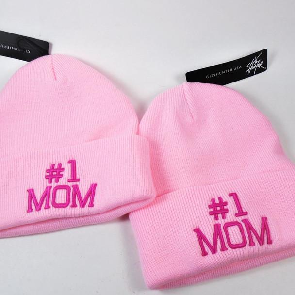 #1 MOM Knit Winter Caps Lite Pink w/ Fusia Letters  12 per pk $ 3.25 each