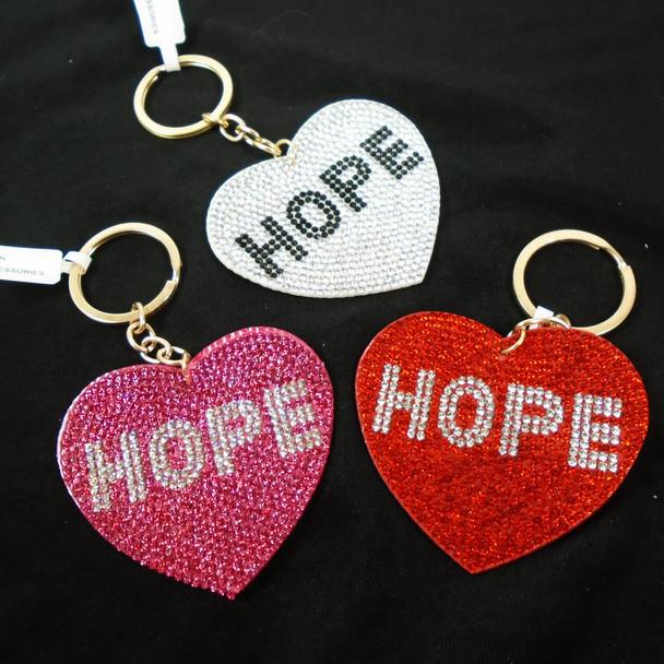 """2.75"""" Crystal Stone HOPE  Heart Shaped Keychains  .62 ea"""