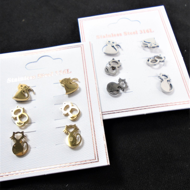 3 - Pair Gold & Silver Stainless Steel Earrings CAT Theme (2622)  .58 per set