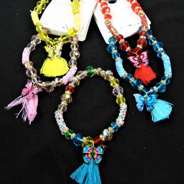 Crystal Bead Fashion Bracelets w/ Butterfly & Tassel Charm  .58 each