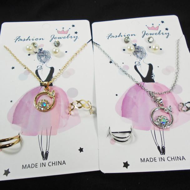 Gold/Silver Neck Set Earrings & Rings  w/ Flower/Butterfly Pendant .60 per set