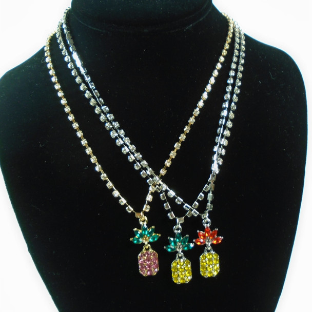 """18"""" Gold & Silver Rhinestone Chain Necklace w/ Crystal Stone Pineapple .60 each"""