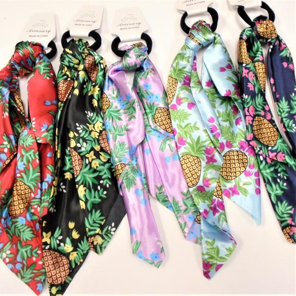 "12"" Satin DBL Side Print Scarf w/ Hair Tie  Pineapple Theme .60 each"