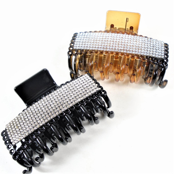 """3.5"""" Black & Brown Fashion Jaw Clips w/ Clear Crystal Stones  .58 ea"""