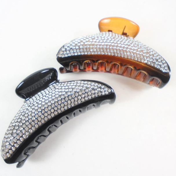 """3.5"""" Curved Black & Brown Fashion Jaw Clips w/ Clear Crystal Stones  .58 ea"""