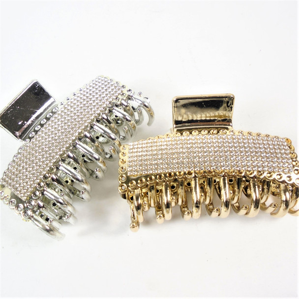 """3.5"""" Gold & SIlver Fashion Jaw Clips w/ Clear Crystal Stones  .58 ea"""