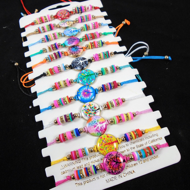 Colorful Beaded Cord Bracelet w/ TRee Life Charms   12 - per cd  .56 each