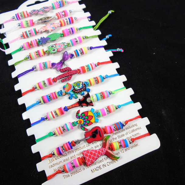 Colorful Beaded Cord Bracelet w/ Mixed Charms   12 - per cd  .56 each