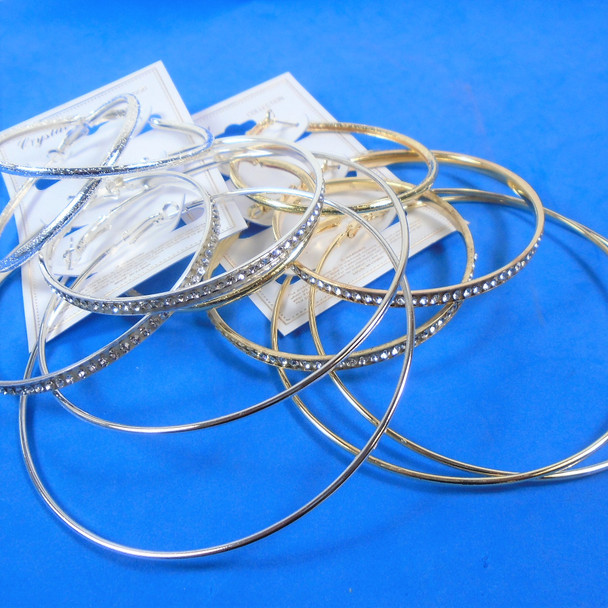 3 Pack Lg. Gold & SIlver Hoop Earrings  (344)  .54 per set