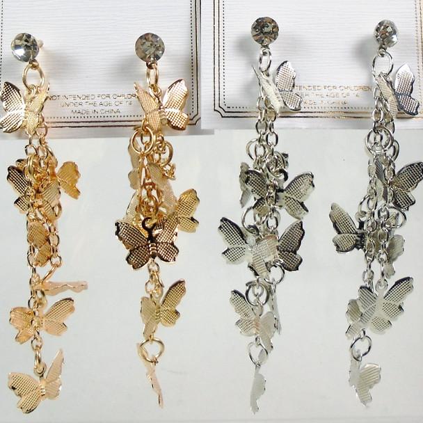 """3"""" Gold & Silver Multi Butterfly Earrings  .56 per pair"""