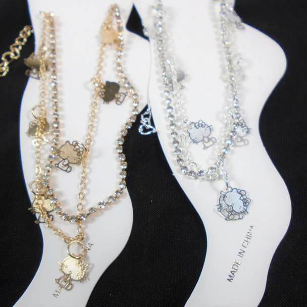 Gold & Silver Rhinestone Chain Anklets  w/ Charms  (3926)  .58 each