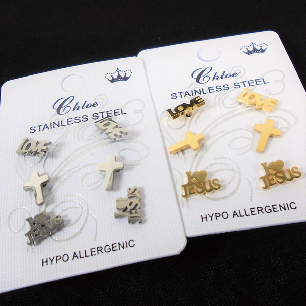 Stainless Steel Earring Set 3 Pairs I Love Jesus,Cross,Love   .58 per set