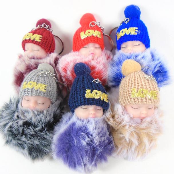 "OMG So Cute 4"" Faux Fur Baby Theme Keychain w. Knit Cap & Love Bling .65 each"