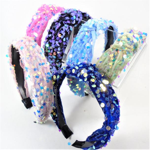 "1.5"" Fashion Sequin Shiney Headbands w/ Knot  .58 each"