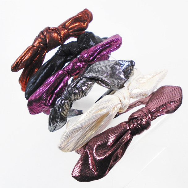 Trendy Hi Fashion Headbands Metallic Fabric w/ Bow Top   .58 each