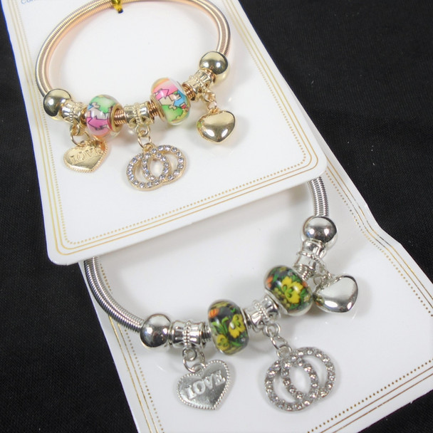 Gold & Silver Spring Style Beaded Bracelet w/ Mixed Charms   .60  each